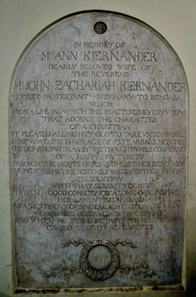 Kiernander Memorial Tablet
