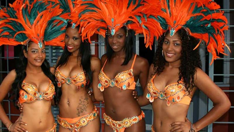 Masqueraders from the Harts band parade