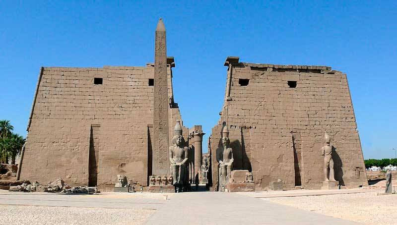 The remaining obelisk at Luxor Temple