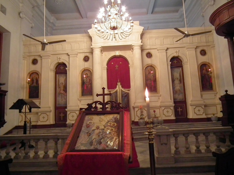 The prayer hall with the ancient icon