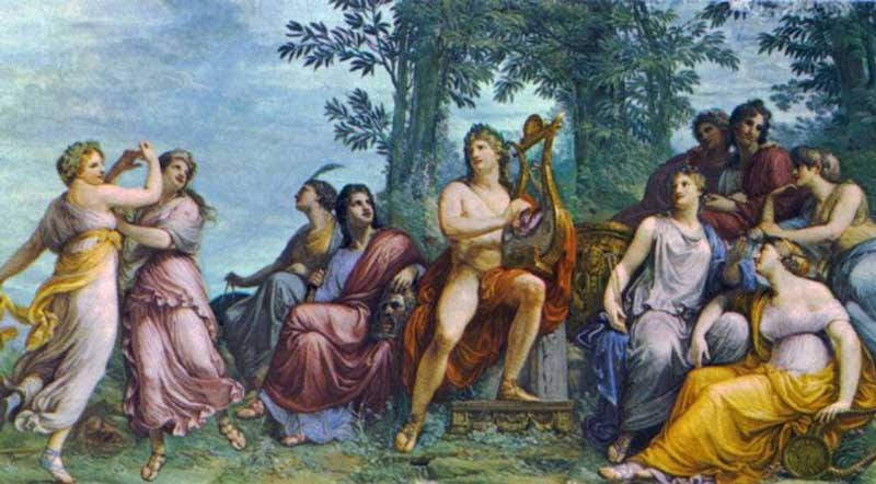 The 9 Muses are dancing while apollo is playing the lyre