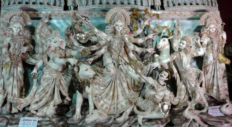 Devi Durga with her children and Mahishasura