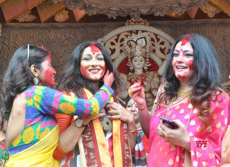 Durga Puja Smearing sindoor