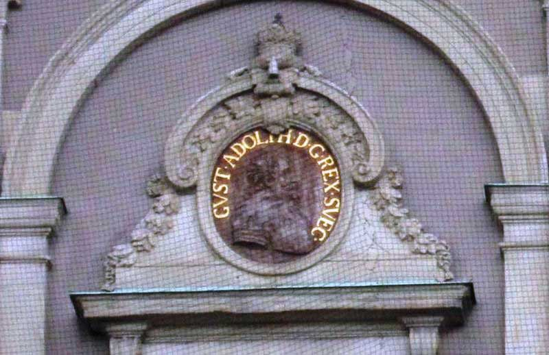 Image of King Gustavus Adolphus on a wall of Stockholm Palace