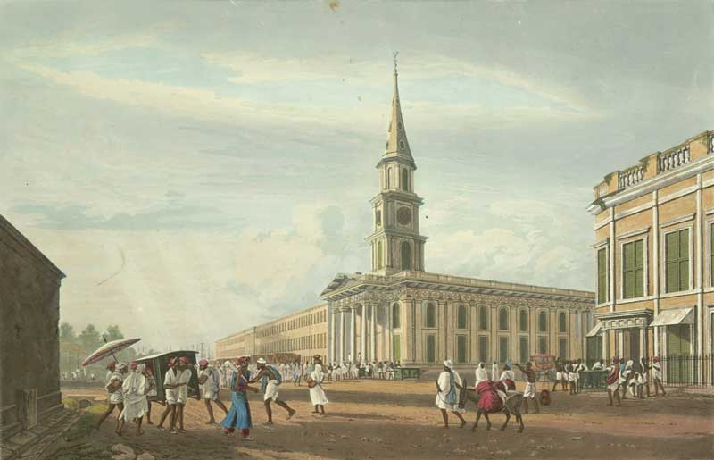 St Andrew's Church from Mission Row, by James Baillie Fraser - 1826