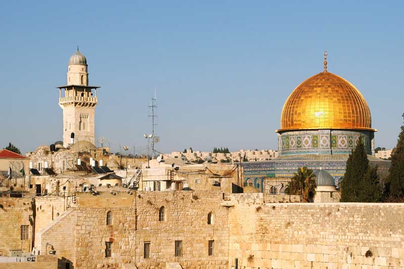 The Western Wall and the Dome of the Rock on the Temple Mount