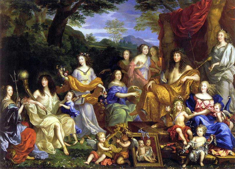 Louis and his family portrayed as Roman gods in a 1670 painting