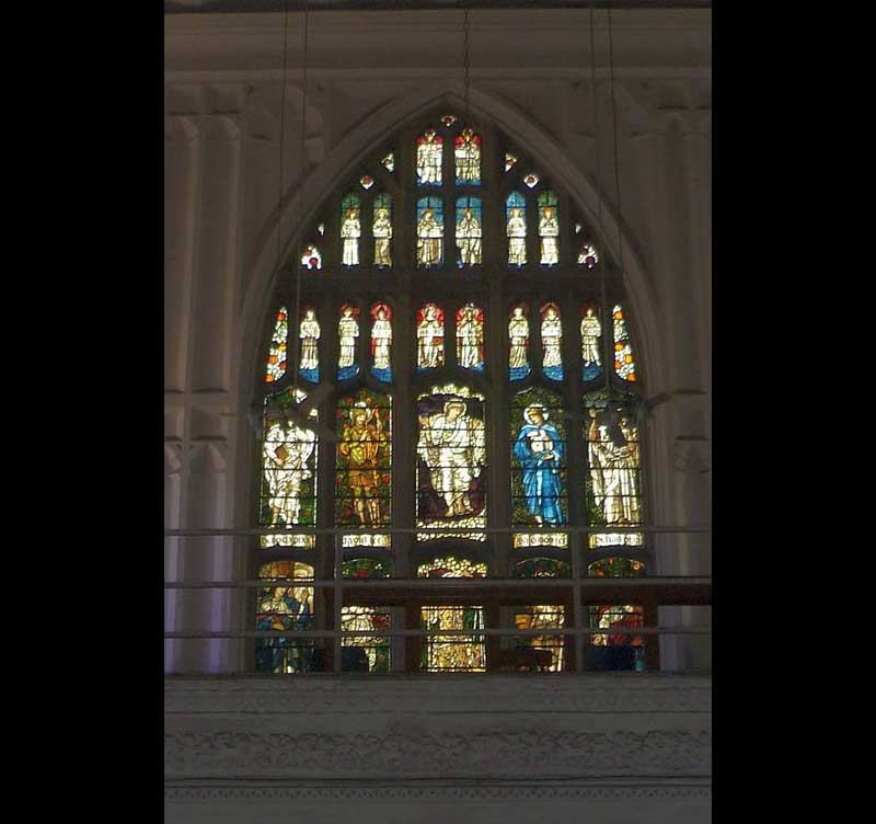 Stained glass window in the west