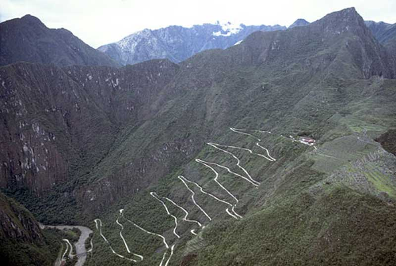 Road from Aguas Calientes up to Machu Picchu