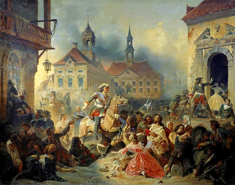 Peter pacifies his troops after retaking of Narva