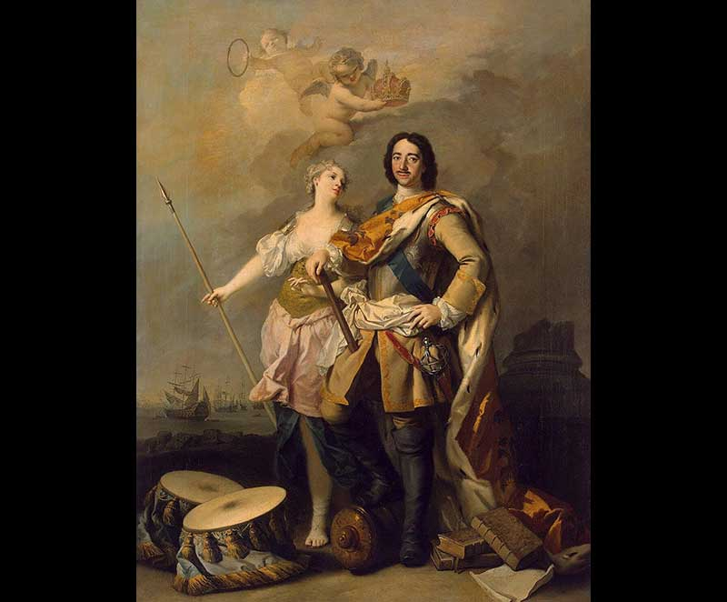 Peter the Great  with goddess Minerva, By Jacopo Amigoni