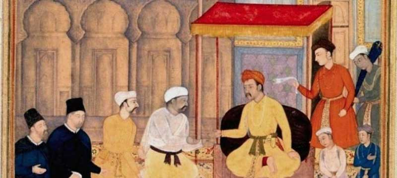 Emperor Akbar in his court