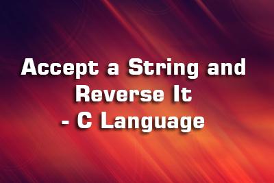 String Reverse C Language