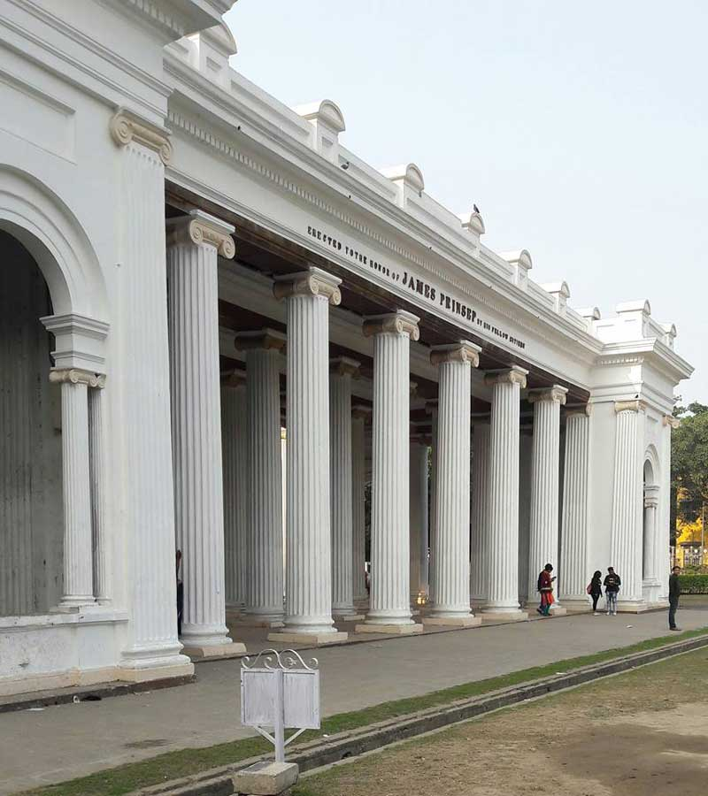 The tall Ionic Columns of Prinsep Ghat
