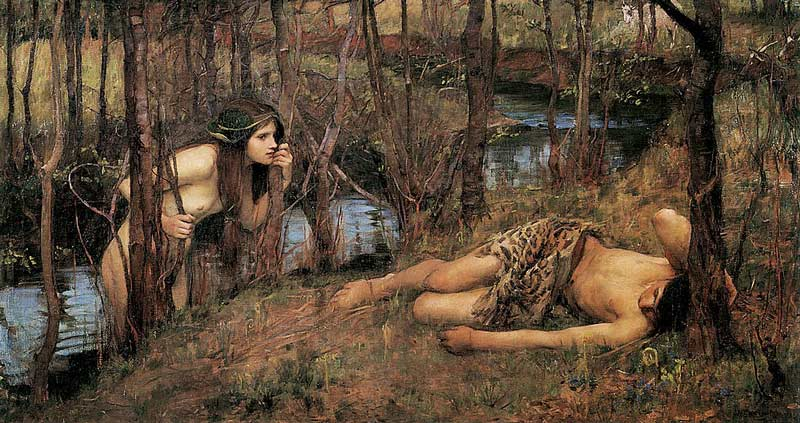 A Naiad or Hylas with a Nymph, by John William Waterhouse (1893)