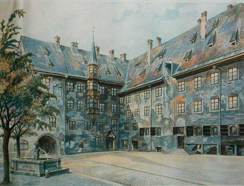Alter Hof in Munich, by Adolf Hitler 1914