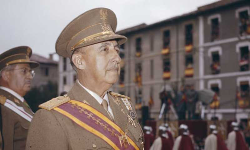 General Franco observes a parade in Spain in 1969