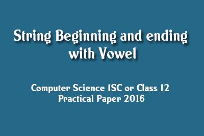 JAVA Practical ISC 2016 Solve Vowel