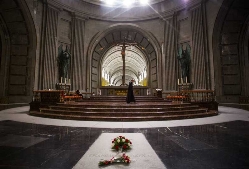 The tomb of Franco inside the basilica of the Valley of the fallen