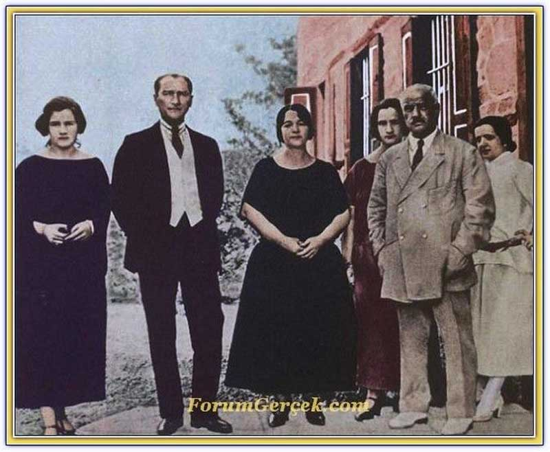 Latife and Ataturk, with her family