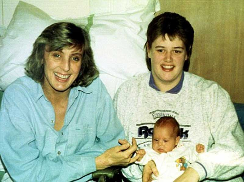 Beverley Allitt with one of her victims and the victim's mother