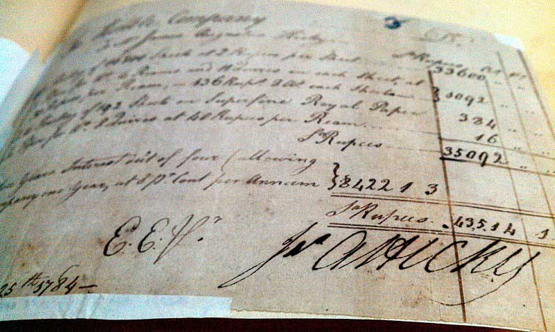 Hicky's Bill to the East India Company for a printing job