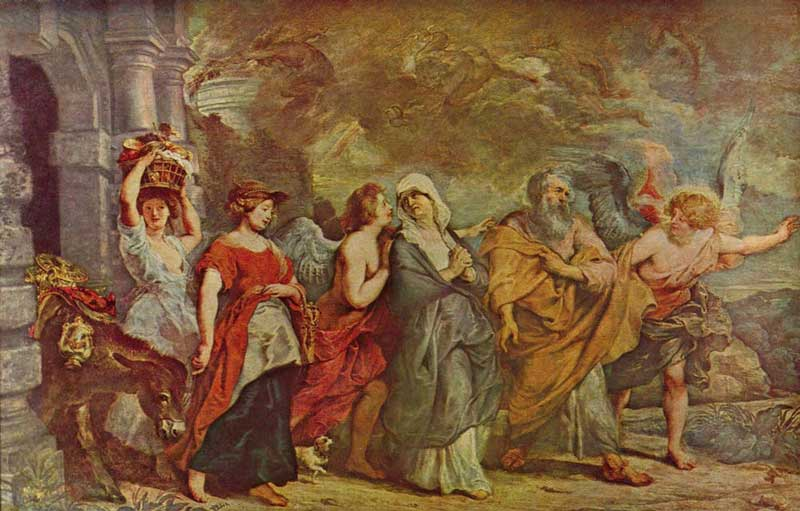 Lot fleeing with his family, by Peter Paul Rubens (Flemish 1577-1640) cc, 1615