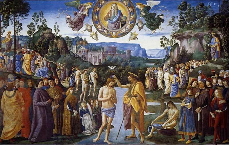 baptism of christ pietro perugino north wall