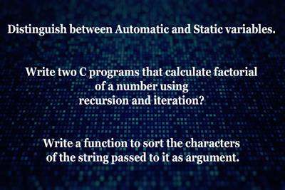 auto static variables Sort character factorial